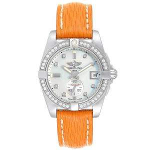 Breitling MOP Diamond Leather and Stainless Steel Galactic 36 A37330 Women's Wristwatch 36MM