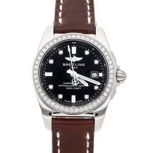 ساعة يد نسائية بريتلينغ غالاكتيك ايه7234853/بي ايي50 ستانلس ستيل ألماسات سوداء 29 مم