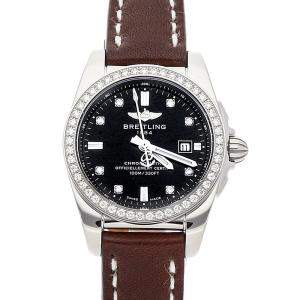 Breitling Black Diamond Stainless Steel Galactic A7234853/BE50 Women's Wristwatch 29 MM