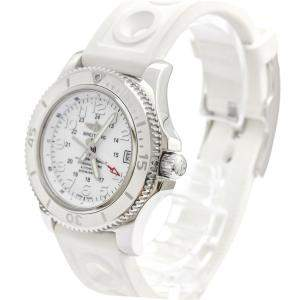 Breitling White Stainless Steel Super Ocean Il Automatic A17312 Women's Wristwatch 36 MM