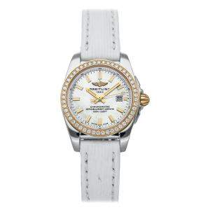 Breitling MOP Diamonds 18K Rose Gold And Stainless Steel Galactic C7234853/A792 Women's Wristwatch 29 MM