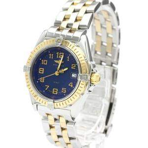 Breitling Blue 18K Yellow Gold And Stainless Steel Wings D67050 Quartz Women's Wristwatch 31 MM