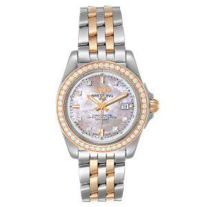 Breitling MOP Diamonds 18K Rose Gold And Stainless Steel Galactic C71330 Women's Wristwatch 32 MM