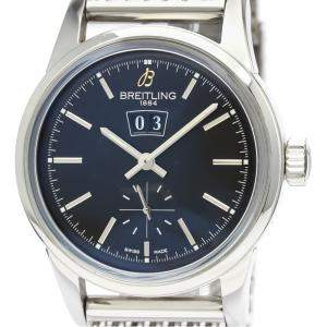 Breitling Black Stainless Steel Transocean Automatic A16310 Women's Wristwatch 38 MM