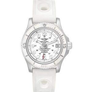 Breitling White Stainless Steel Superocean II Hurricane A17312 Women's Wristwatch 36 MM