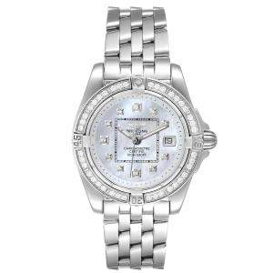 Breitling MOP Diamond and Stainless Steel Cockpit A71356 Women's Wristwatch 32 MM