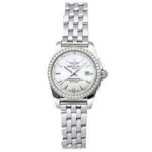 Breitling MOP Diamonds Stainless Steel Galactic A7234853/A784 Women's Wristwatch 29 MM