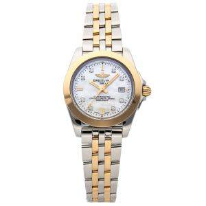 Breitling White Diamonds 18K Yellow Gold And Stainless Steel Galactic Sleek Edition C7133012/A803 Women's Wristwatch 32 MM