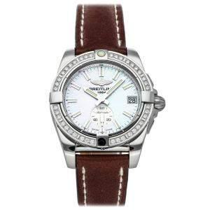 Breitling MOP Diamonds Stainless Steel Galactic A3733053/A788 Women's Wristwatch 36 MM