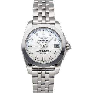 Breitling MOP Diamonds Stainless Steel Galactic W7433012/A780 Women's Wristwatch 36 MM