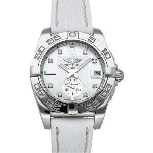 Breitling MOP Diamonds Stainless Steel Galactic A3733012/A717 Women's Wristwatch 36 MM