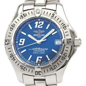 """ساعة يد نسائية بريتلينغ """"كولت كوارتز ايه57350"""" ستانلس ستيل زرقاء 34 مم"""
