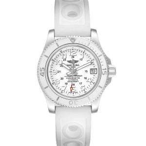 Breitling White Stainless Steel Superocean II A17312 Women's Wristwatch 36 MM