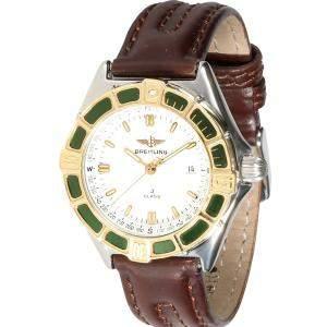 """ساعة يد نسائية بريتلينغ """"جي-كلاس دي52063"""" ستانلس ستيل و ذهب أصفر عيار 18 بيضاء 31 مم"""