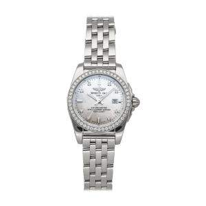 Breitling MOP Diamonds Stainless Steel Galactic Sleek D A7234853/A785 Women's Wristwatch 29 MM