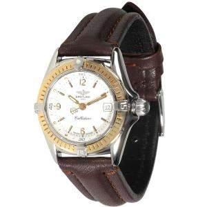 ساعة يد نسائية بريتلينغ  كاليستينو دي52045 ستانلس ستيل و ذهب أصفر عيار 18 بيضاء 28 مم