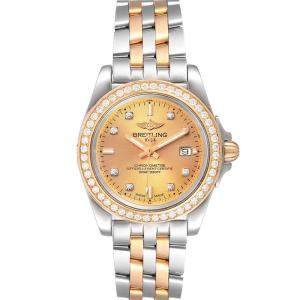 Breitling Champagne Diamonds 18K Rose Gold And Stainless Steel Galactic C71330 Women's Wristwatch 32 MM