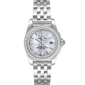 Breitling MOP Diamonds Stainless Steel Galactic A72348 Women's Wristwatch 29 MM