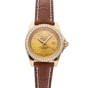 Breitling Yellow Diamonds 18K Rose Gold Galactic H7133053/H550 Women's Wristwatch 32 MM