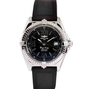 Breitling Black Stainless Steel Wings Lady Women's Wristwatch 31 MM