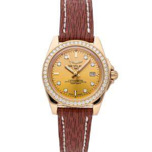 Breitling Champagne Diamonds 18K Rose Gold Galactic H7133053/H550 Women's Wristwatch 32 MM