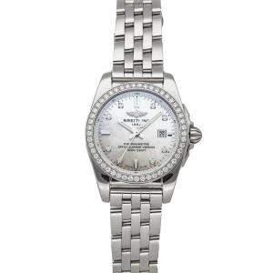 Breitling MOP Diamonds Stainless Steel Galactic D A7234853/A785 Women's Wristwatch 29 MM