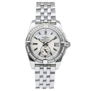 Breitling Silver Diamonds Stainless Steel Galactic A3733053/G706 Women's Wristwatch 36 MM