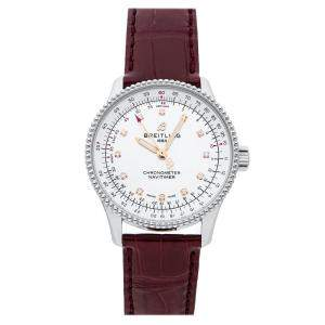 Breitling Silver Stainless Steel Navitimer Automatic A17395211A1P2 Women's Wristwatch 35 MM
