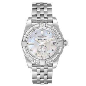 Breitling MOP Diamonds Stainless Steel Galactic A37330 Women's Wristwatch 36 MM