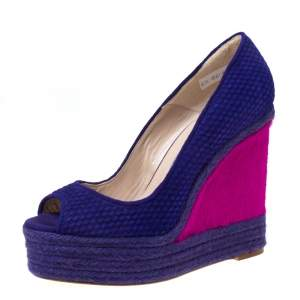 Brian Atwood Purple/Pink Textured Suede and Caflhair Peep Toe Espadrilles  Wedge Pumps Size 38