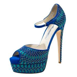 Brian Atwood Blue Tribeca Laser Suede and Leather Mary Jane Platform Sandals Size 38.5