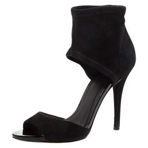 Brian Atwood Black Suede Correns Ankle Cuff Sandals Size 36.5