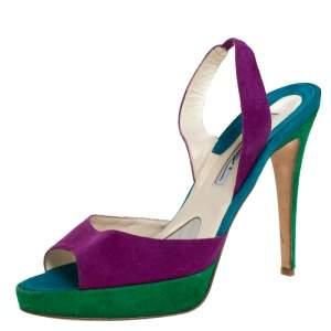 Brian Atwood Multicolor Suede Peep Toe Slingback Platform Sandals Size 39.5