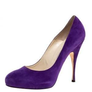 حذاء كعب عالي براين أتوود نعل سميك سويدي بنفسجي مقاس 40