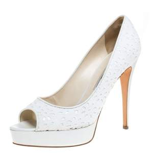 Brian Atwood White Floral Embroidered Fabric Peep Toe Platform Pumps Size 39.5