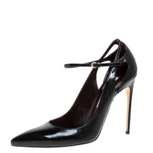 Brian Atwood Black Patent Leather Marissa Ankle Straps Pumps Size 39