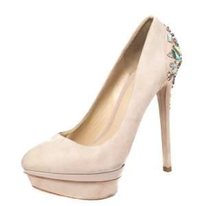 حذاء كعب عالي بريان أتوود نعل سميك مزخرف كريستال سويدي وردي فاتح مقاس 38.5