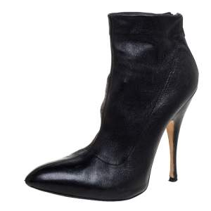 Brian Atwood Black Leather Back Zip Ankle Boots Size 38.5