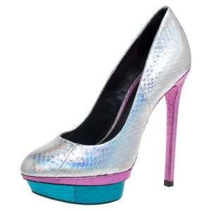 حذاء كعب عالي براين أتوود جلد ثعبان متعدد الألوان نعل سميك مقاس 36