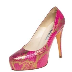 حذاء كعب عالى براين أتود نعل سميك جلد ثعبان وردى مقاس 38