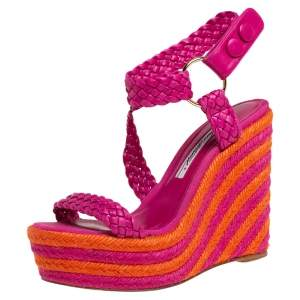 Brian Atwood Pink/Orange Woven Leather Espadrille Wedge Sandals Size 36