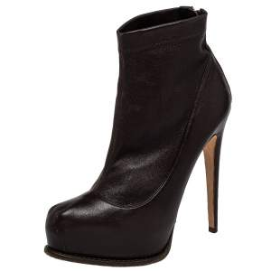 Brian Atwood Burgundy Leather Ankle Length Boots Size 38.5