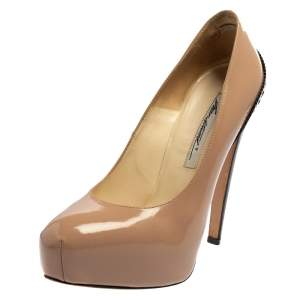 Brian Atwood Beige/Black Patent Leather Platform Pumps Size 36