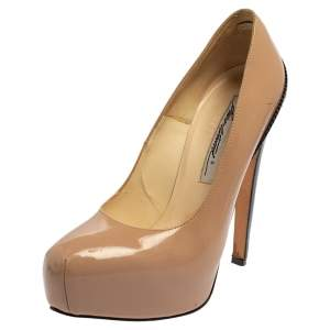Brian Atwood Beige Patent Leather Platform Pumps Size 36.5