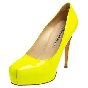 Brian Atwood Neon Green  Patent Leather Platform Pumps Size 36.5