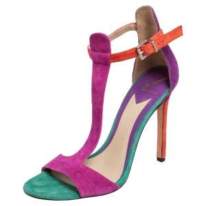 Brian Atwood Multicolor Suede T Strap Open Toe Sandals Size 39
