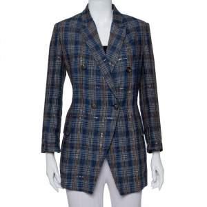 Brunello Cucinelli Navy Blue Plaided Linen Sequin Embellished Double Breasted Blazer M