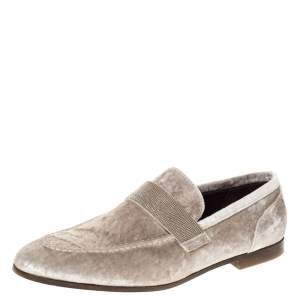 Brunello Cucinelli Metallic Beige Velvet Slip On Loafers Size 40