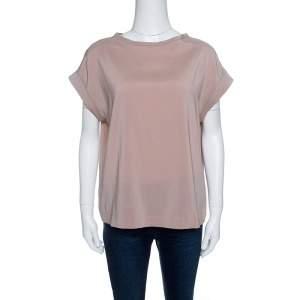 Brunello Cucinelli Pale Pink Silk Short Sleeve Top S