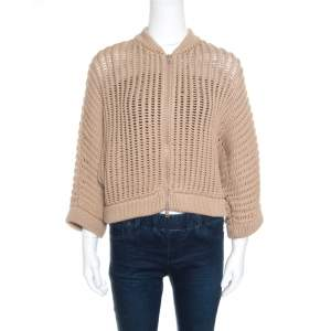 Brunello Cucinelli Camel Brown Chunky Knit Batwing Sleeve Cropped Cardigan XL